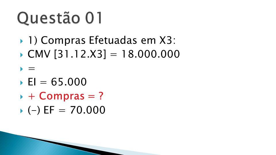 Questão 01 1) Compras Efetuadas em X3: CMV [31.12.X3] = 18.000.000 =